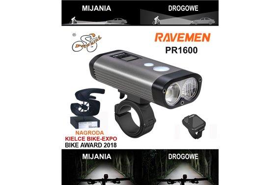 Lampa Ravemen PR-1600 LED Dual 1600 Lm Li-ion USB Pilot Wyświetlacz