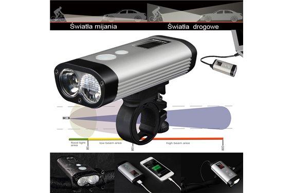 Lampa Ravemen PR-900 LED Dual 900 Lm Li-ion USB Pilot Wyświetlacz